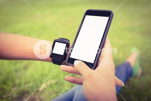 Cropped hands of person wearing smart watch and holding smartphone at park