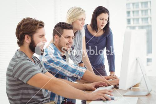 Business team working on computer