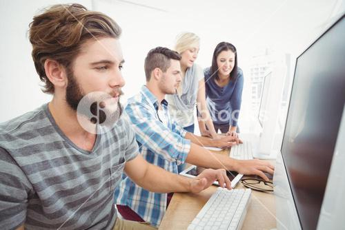 Business team working at computer