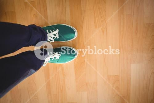 Businessman standing on hardwood floor