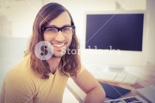 Portrait of happy hipster wearing eye glasses