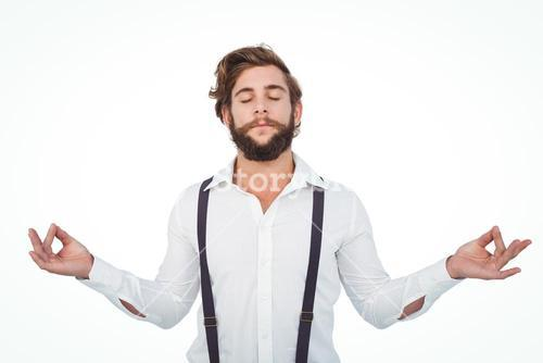 Hipster meditating arms outstretched