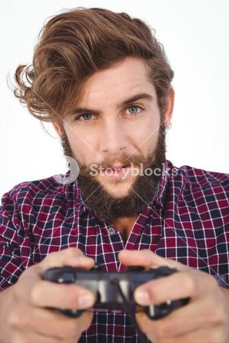 Portrait of hipster playing video game