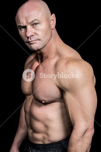 Portrait of shirtless muscular man