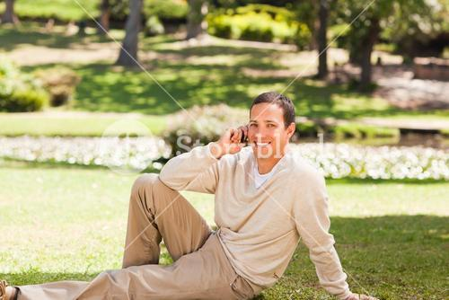 Man phoning during the summer
