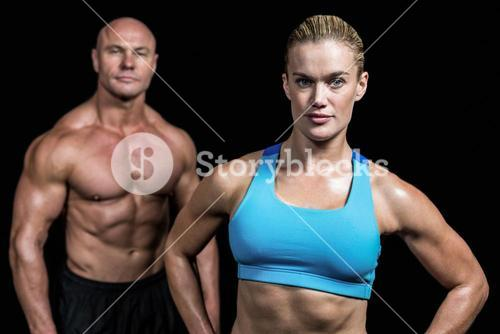 Portrait of fit trainers