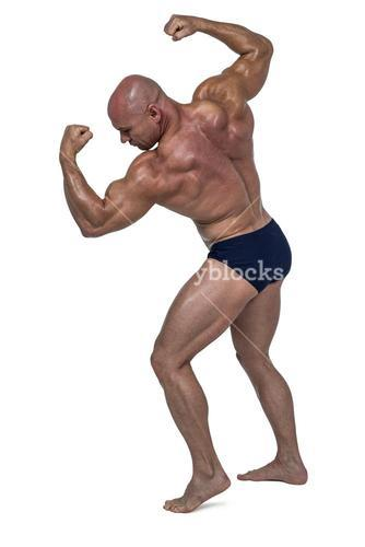 Powerful bald man flexing muscles