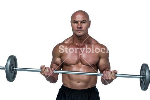Portrait of bodybuilder lifting