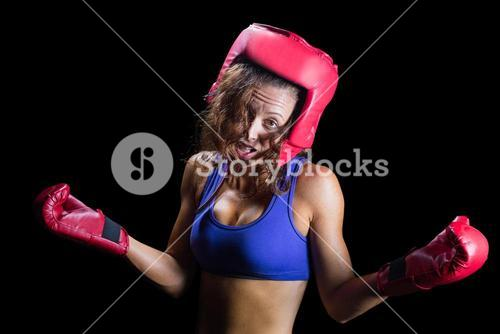 Portrait of crazy fighter with arms outstretched