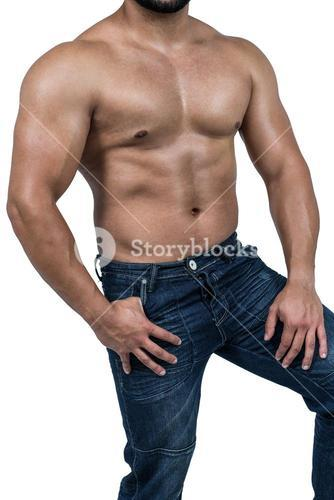 Muscular man wearing blue jeans