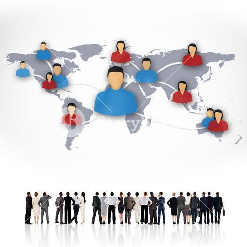 Composite image of rear view of multiethnic business people standing side by side