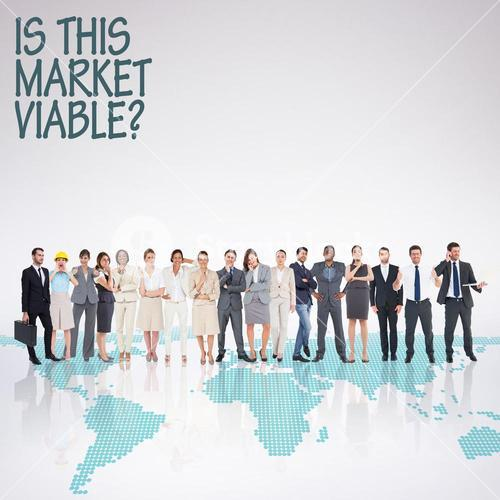 Composite image of multiethnic business people standing side by side