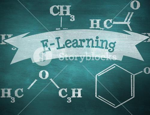 E-learning against green chalkboard