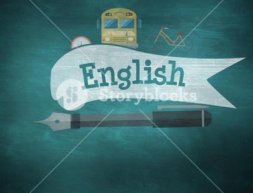 English against green chalkboard