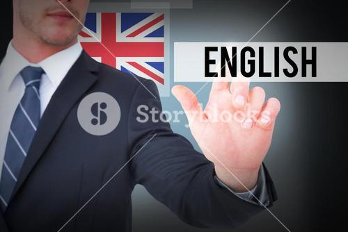 English against blue background with vignette