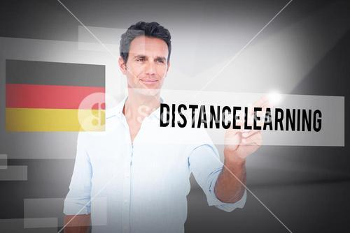 Distance learning against abstract white room