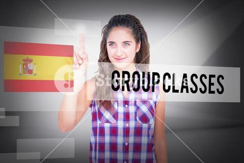 Group classes against abstract white room