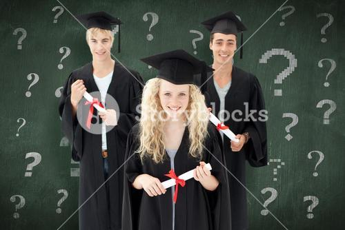 Composite image of group of adolescents celebrating after graduation