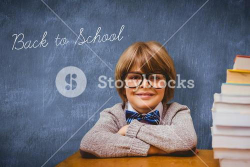Back to school against blue chalkboard
