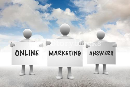 Composite image of online marketing answers