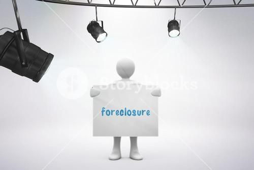 Foreclosure against grey background