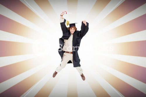 Composite image of male student in graduate robe jumping