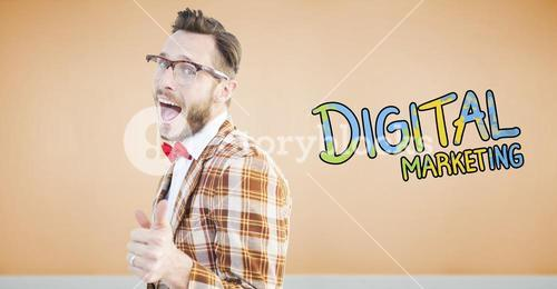 Composite image of geeky hipster pointing at camera