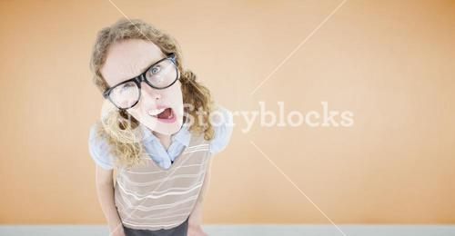 Composite image of confused geeky hipster woman