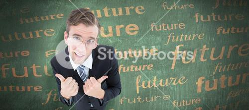 Composite image of geeky businessman with thumbs up
