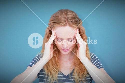 Composite image of a blonde woman having headache