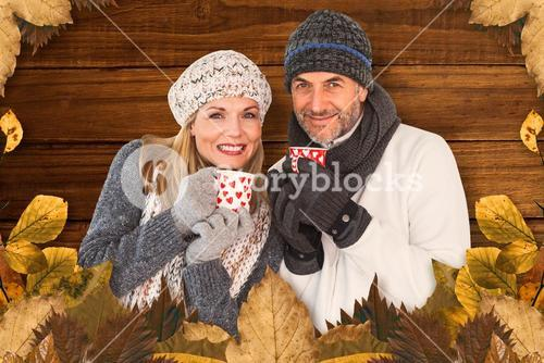 Composite image of portrait of couple drinking hot coffee