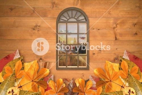Composite image of digitally generated image of arch window