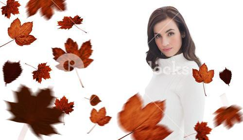 Composite image of pretty brunette in white jumper posing