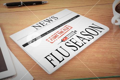 Composite image of newspaper with flu headline