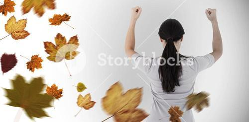 Composite image of depressed woman standing back to camera