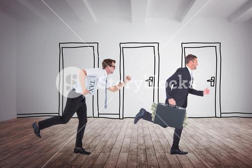 Composite image of businessman rushing with tax folder