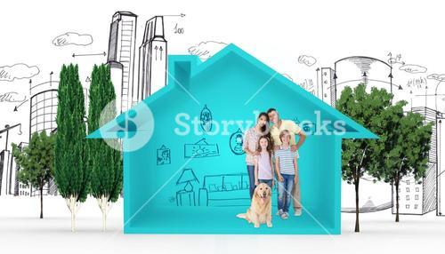 Composite image of happy family standing with dog