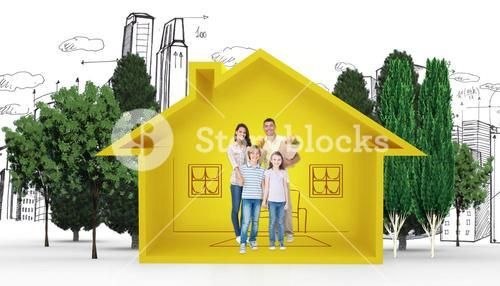 Composite image of happy family with grocery bags
