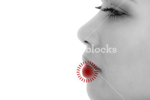 Composite image of close-up side view of beautiful woman looking away