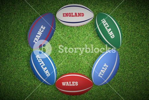 Composite image of  nations rugby balls