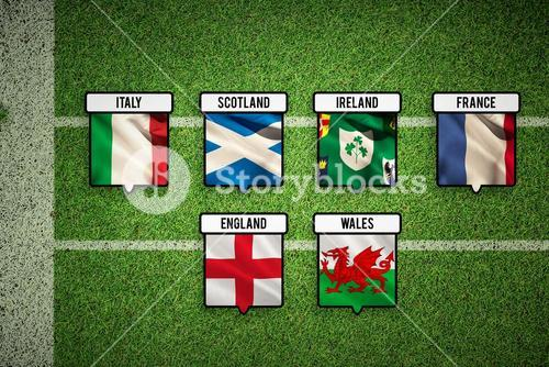 Composite image of 6 nations teams flags