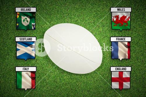 Composite image of close-up of rugby ball