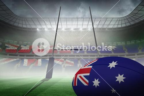 Composite image of australian flag rugby ball