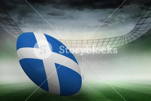 Composite image of scottish flag rugby ball