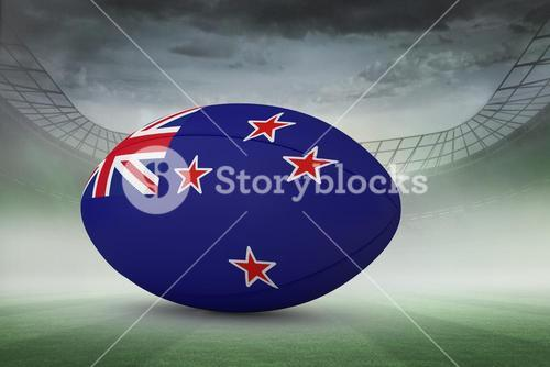 Composite image of new zealand flag rugby ball