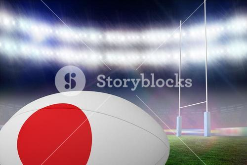 Composite image of japanese flag rugby ball