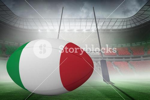 Composite image of  italian flag rugby ball