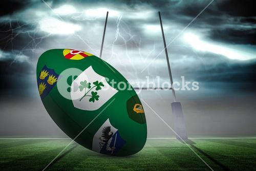 Composite image of various coat of arms on rugby ball