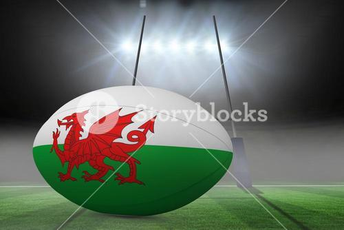 Composite image of welsh flag rugby ball