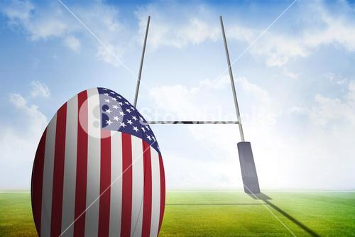 Composite image of american flag rugby ball